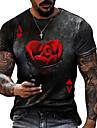 Hombre Tee Camiseta Camisa Impresion 3D Grafico Poker Tallas Grandes Manga Corta Casual Tops Basico De Diseno Corte Slim Grande y alto Negro Caqui Verde Trebol