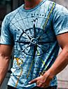 Hombre Tee Camiseta Impresion 3D Estampados Brujula Estampado Manga Corta Diario Tops Casual De Diseno Grande y alto Escote Redondo Azul Piscina Gris Verde Trebol / Verano