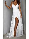 Γυναικεία Φόρεμα σε ευθεία γραμμή Μακρύ φόρεμα Λευκό Αμάνικο Συμπαγές Χρώμα Εξώπλατο Σκίσιμο Δαντέλα Άνοιξη Καλοκαίρι Λαιμόκοψη V Κομψό Σέξι Πάρτι 2021 Τ M L XL