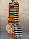 Women\'s Shift Dress Maxi long Dress Blue Light Brown Khaki Rainbow White Black Brown Sleeveless Striped Color Block Print Spring Summer Round Neck Casual Holiday 2021 S M L XL XXL 3XL