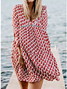 Women\'s Swing Dress Knee Length Dress Light Blue Black Red Long Sleeve Print Spring Summer Casual Loose 2021 S M L XL XXL