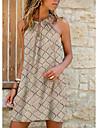 Women\'s A Line Dress Short Mini Dress Blue Khaki Green Sleeveless Print Color Block Geometric Print Summer Halter Neck Casual Holiday 2021 S M L XL XXL