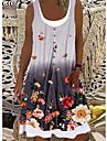 Women\'s A Line Dress Knee Length Dress Gray khaki Sky Blue Sleeveless Floral Color Gradient Print Spring Summer Round Neck Casual / Daily 2021 S M L XL XXL XXXL