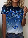 Dámské Motýl Obraz Tričko Zářící barvy Motýl Tisk Kulatý Základní Topy Vodní modrá Fialová