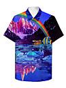 男性用 シャツ 3Dプリント 虹色 動物 プラスサイズ 3Dプリント ボタンダウン 半袖 カジュアル トップの カジュアル ファッション 高通気性 快適 レインボー / スポーツ