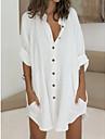 Women\'s Shirt Dress Short Mini Dress Green White Long Sleeve Solid Color Split Patchwork Spring Summer Shirt Collar Casual Loose 2021 M L XL 2XL 3XL / Cotton / Cotton