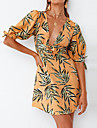 Women\'s Sundress Short Mini Dress Yellow Short Sleeve Print Print Summer V Neck Sexy Boho Holiday 2021 S M L XL