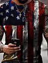 Hombre Tee Camiseta Camisa Impresion 3D Grafico Bandera estadounidense Dia de la Independencia Bandera Tallas Grandes Manga Corta Casual Tops Basico De Diseno Corte Slim Grande y alto Blanco Amarillo