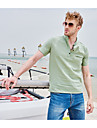 Men\'s Shirt Solid Color Short Sleeve Street Tops Cotton Casual / Daily Breathable Comfortable Henley Light Blue Yellow Green / Beach