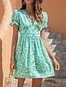 Women\'s A Line Dress Short Mini Dress Blue Green Black Short Sleeve Print Print Summer V Neck Casual Puff Sleeve 2021 S M L XL XXL