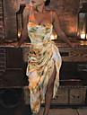 Women\'s Strap Dress Short Mini Dress Yellow Sleeveless Abstract Ruched Print Summer cold shoulder Elegant Sexy Party Club 2021 S M L XL XXL XXXL