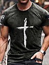 Men\'s Tee T shirt Shirt 3D Print Graphic Cross Plus Size Short Sleeve Casual Tops Basic Designer Slim Fit Big and Tall Blue Red Dark Gray