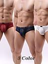 Hombre Basico Sexy bragas Ropa interior de tanga Alta elasticidad Baja cintura 3 Piezas Multicolor S