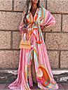 Women\'s Swing Dress Maxi long Dress Blushing Pink 3/4 Length Sleeve Geometric Split Lace up Print Fall Spring V Neck Casual Boho Holiday 2021 S M L XL XXL / Beach