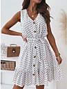 Women\'s A Line Dress Knee Length Dress White Black Dark Blue Sleeveless Dot Spring Summer Casual 2021 S M L XL 2XL