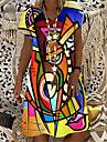 Women\'s T Shirt Dress Tee Dress Knee Length Dress Yellow Short Sleeve Color Block Abstract Print Summer V Neck Casual Holiday 2021 S M L XL XXL 3XL