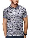 Homens Camisa de golfe Camisa de tenis Impressao 3D Guepardo Botao para baixo Manga Curta Casual Blusas Casual Moda Respiravel Cinzento / Esportes