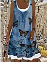 Women\'s A Line Dress Knee Length Dress Blue Sleeveless Print Animal Print Summer Boat Neck Elegant Casual Holiday 2021 S M L XL XXL 3XL
