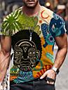 Men\'s Tee T shirt Shirt 3D Print Graphic Prints Skull Human Print Short Sleeve Daily Tops Casual Designer Big and Tall Round Neck Yellow Rainbow Gray / Summer