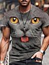 Miesten T-paidat T-paita Paita 3D-tulostus Kissa Kuvitettu Pluskoko Lyhythihainen Kausaliteetti Topit Perus Suunnittelija Slim Fit Iso ja pitkä A B C / Kesä