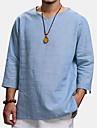 Bărbați Cămașă Culoare solidă Lungime Manșon 3/4 Casual Topuri Simplu Casul / Zilnic Comfortabil În V Albastru Deschis Alb Negru