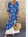 Women\'s Swing Dress Maxi long Dress Blue Short Sleeve Floral Print Patchwork Double Layered Spring Summer Round Neck Casual Holiday Loose 2021 S M L XL XXL XXXL