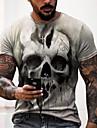 Hombre Tee Camiseta Camisa Impresion 3D Estampados Craneos Estampado Manga Corta Diario Tops Casual De Diseno Grande y alto Escote Redondo Oro negro Negro y Azul Negro y Amarillo / Verano