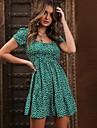 Women\'s A Line Dress Short Mini Dress Green Black Red Short Sleeve Pattern Summer Casual 2021 S M L XL