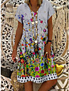 Women\'s Shift Dress Knee Length Dress White Short Sleeve Print Print Summer V Neck Casual 2021 M L XL XXL 3XL