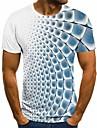 男性用 Tシャツ シャツ 3Dプリント チェック 格子柄 グラフィック 3D 半袖 パーティー トップの ベーシック 快適 大きくて背が高い ラウンドネック レイクブルー コバルトブルー ブルー