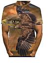Hombre Tee Camiseta Impresion 3D Grafico Aguila Estampado Manga Corta Fiesta Tops Basico De Diseno Exagerado Escote Redondo Azul Piscina Amarillo Marron claro