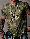 Men\'s Tee T shirt Shirt 3D Print Graphic Prints Camo / Camouflage Emoji Face Letter Print Short Sleeve Daily Tops Cotton Casual Designer Big and Tall Round Neck Blue Green Gray / Summer