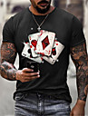 Men\'s Unisex Tee T shirt Hot Stamping Graphic Prints Card Plus Size Print Short Sleeve Casual Tops Cotton Basic Designer Big and Tall Black