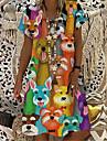Women\'s T Shirt Dress Tee Dress Knee Length Dress Rainbow Short Sleeve Animal Print Spring Summer V Neck Casual Holiday 2021 S M L XL XXL 3XL