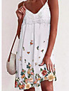 Women\'s Strap Dress Knee Length Dress White Sleeveless Floral Spring Summer Casual 2021 S M L XL XXL