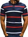 رجالي قميص الجولف قميص تنس مخطط زر أسفل كم قصير شارع قمم قطن الأعمال التجارية كاجوال مريح أبيض أزرق البحرية
