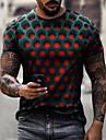 Hombre Camiseta Impresión 3D Gráfico de impresión en 3D Tallas Grandes Manga Corta Casual Tops Poliéster Moda Chic de Calle Exagerado Fresco Escote Redondo Morado Morado Rosa / Verano