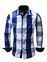 Men\'s Shirt Plaid Button-Down Long Sleeve Street Tops Cotton Business Casual Comfortable Blue Black Red
