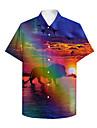 男性用 シャツ 3Dプリント 虹色 ライオン 動物 プラスサイズ 3Dプリント ボタンダウン 半袖 カジュアル トップの カジュアル ファッション 高通気性 快適 レインボー / スポーツ