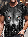 Hombre Tee Camiseta Camisa Impresion 3D Estampados Lobo Rosa Estampado Manga Corta Diario Tops Casual De Diseno Grande y alto Escote Redondo Blanco Rojo Negro / Verano