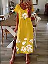 Women\'s Shift Dress Maxi long Dress Blue Yellow Gray Black Short Sleeve Daisy Floral Split Print Spring Summer Round Neck Casual 2021 S M L XL XXL 3XL