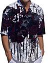 男性用 シャツ 3Dプリント スカル プラスサイズ 3Dプリント ボタンダウン 半袖 カジュアル トップの カジュアル ファッション ヴィンテージ クラシック ホワイト / スポーツ
