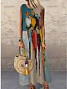 Women\'s Shift Dress Maxi long Dress Blue Sleeveless Color Block Abstract Print Fall Summer Round Neck Casual Holiday 2021 S M L XL XXL 3XL