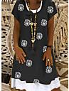 Női Pólóruha Térdig érő ruha Fekete Rövid ujjú Nyomtatott Nyomtatott Tavasz Nyár Kerek Alkalmi 2021 S M L XL XXL XXXL