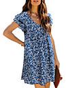 Women\'s Shift Dress Short Mini Dress Blue Green Short Sleeve Floral Print Spring Summer V Neck Casual Holiday 2021 S M L XL