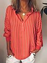 여성용 블라우스 셔츠 줄무늬 긴 소매 단추 프린트 셔츠 카라 베이직 스트리트 쉬크 탑스 푸른 옐로우 클로버