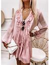Women\'s Chiffon Dress Knee Length Dress Blushing Pink Gray Long Sleeve Solid Color Ruffle Fall Spring V Neck Casual Holiday 2021 S M L XL XXL
