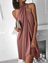 여성용 시프트 드레스 미니 드레스 푸른 퓨샤 카키 더스티 블루 블랙 루비 밝은 블루 민소매 한 색상 주름 잡힌 패치 워크 봄 여름 홀터 넥 우아함 캐쥬얼 섹시 파티 홀리데이 비치 2021 S M L XL XXL 3XL / 휴가 드레스 / 슬림