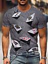 Hombre Tee Camiseta Impresion 3D Grafico 3D Poker Tallas Grandes Estampado Manga Corta Fiesta Ajuste regular Tops Casual Retro Escote Redondo Morado Amarillo Azul