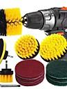 11pcs Electric Scourer Brush Plastic Round Cleaning Brush Kit For Glass Carpets Car Tires Nylon Brushes